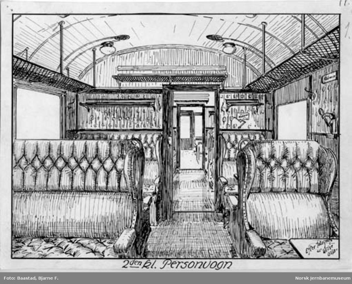 Strektegning av interiøret i personvogn for 2. klasse, litra Bo