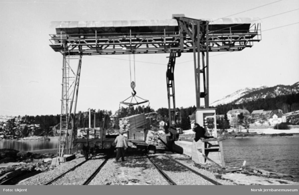 Tømmerkran på Treungen stasjon