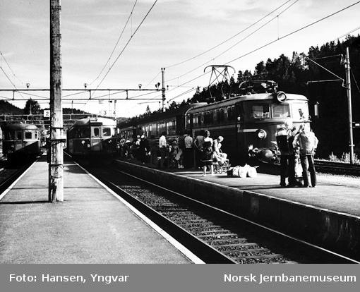"""Neslandsvatn stasjon med reisende som venter på ankommende """"Stavangerekspressen"""" og motorvognen fra Kragerø i sporet ved siden av"""