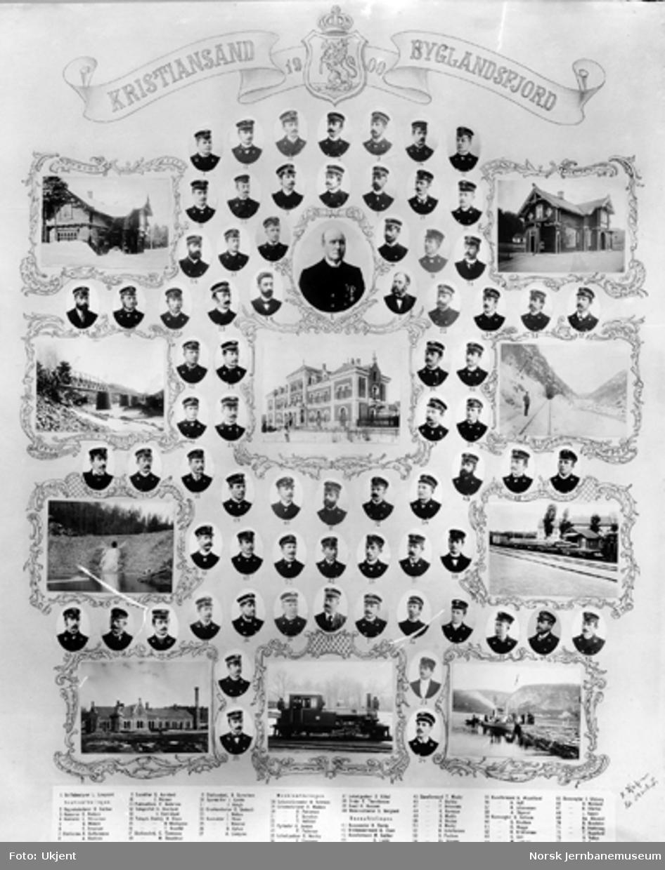 Fotomontasje med Setesdalsbanens ansatte