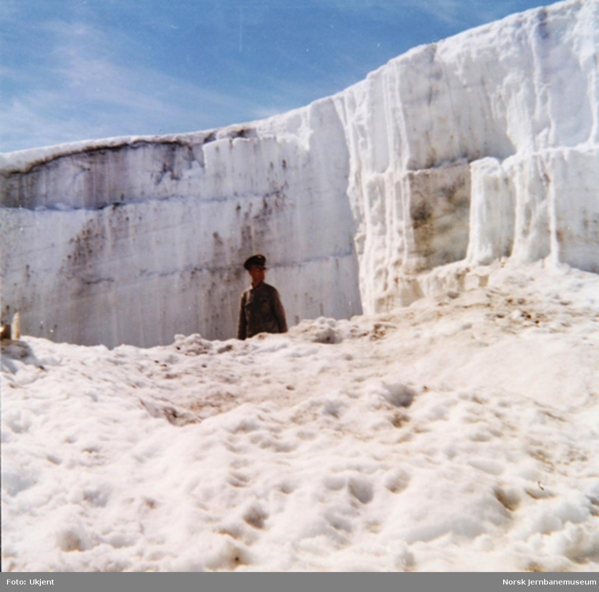 Snørydding på snøoverbygg på Bergensbanen