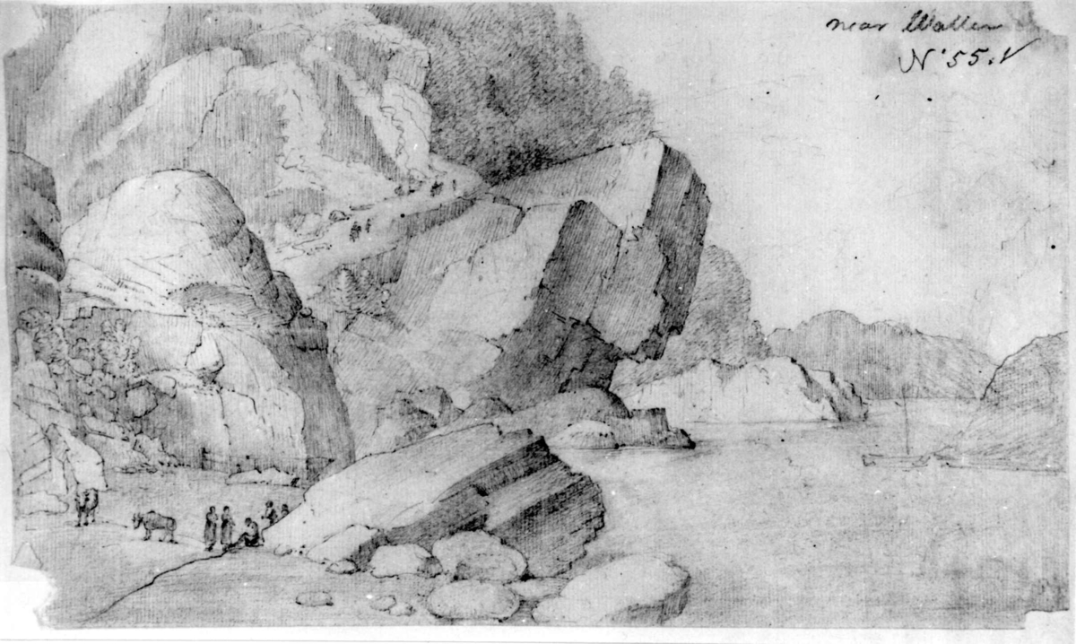 "ValleFra skissealbum av John W. Edy, ""Drawings Norway 1800""."