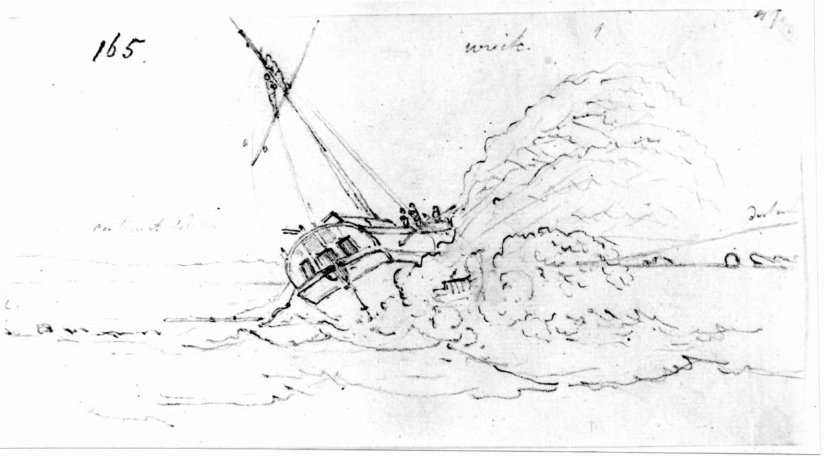 """Oslo. Christiania. Blyantskisse av John Edy: Drawings, Norway, 1800. """"Skipsvrak, jakt eller mindre seilskute på en holme"""". Skissealbum utlånt av Deichmanske bibliotek."""