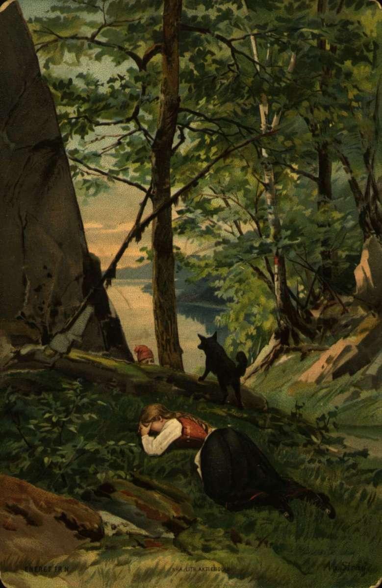 Postkort. Jule- og nyttårshilsen. Sommermotiv. Skoglandskap med vann. En kvinne i bunad ligger i gresset. Et mannshode med rød lue titter opp på kvinnen. En hund holder vakt. Datert julaften 1893.