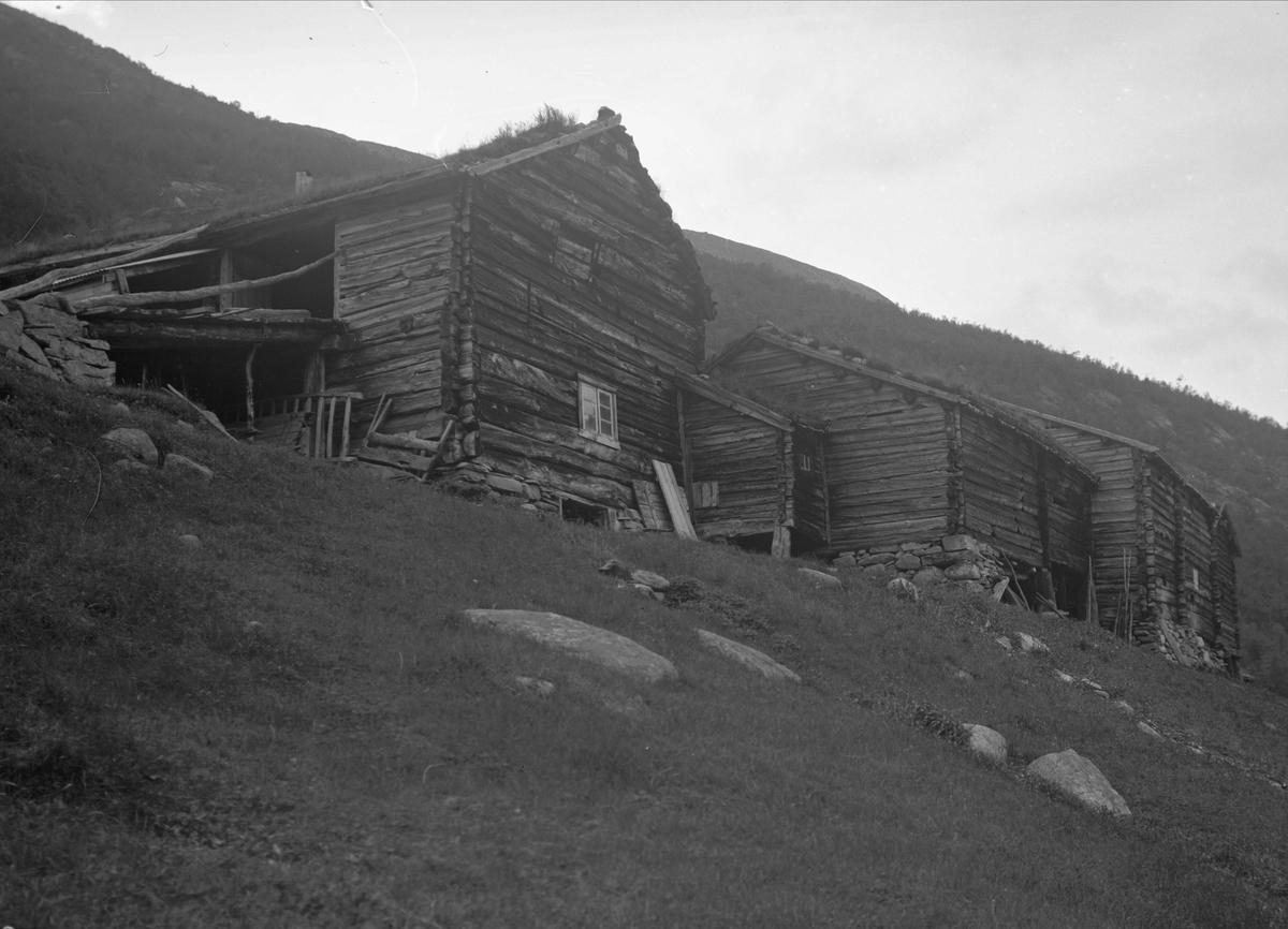 Gårdstun, Åmotsdalen, Drivdalen, Oppdal, Sør-Trøndelag. Fra album. Fotografert 1939.