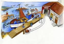 """Orginaltegninger til """"Barnas tårn"""" Tegnet av Svein Samuelse"""