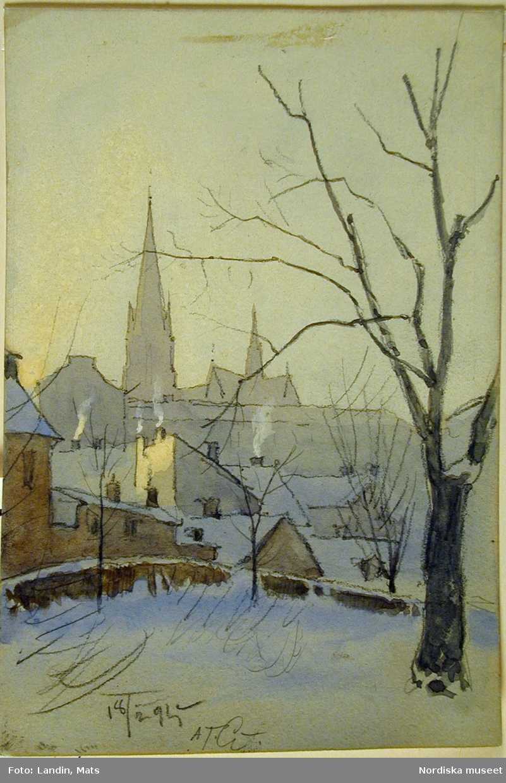 """Laverad blyertsskiss av A T Gellerstedt """"Utsikt från Eriksberg - ungefär där Eriksbergsplan ligger nu - [2001] mot söder med Johannes kyrka i bakgrunden. Laverad blyertsskiss 18 februari 1895."""""""
