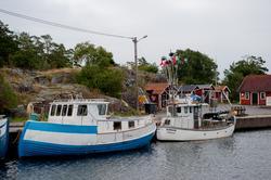 Händelöp. Västervik. Nya fiskehamnen på utsidan av ön. Fisk