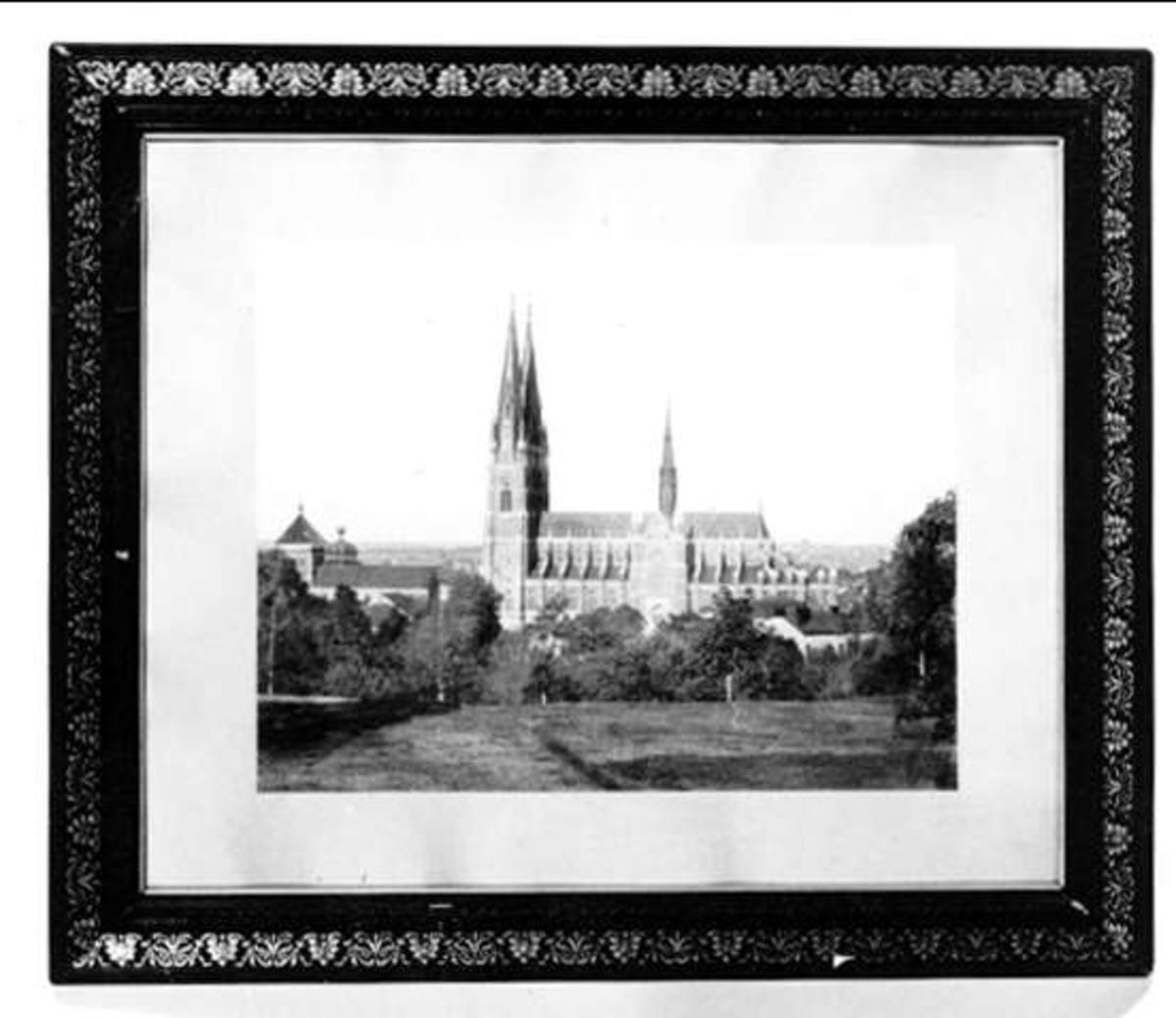 Bruntonat fotografi av Uppsala domkyrka och Helga Trefaldighets kyrka från Uppsala slott.
