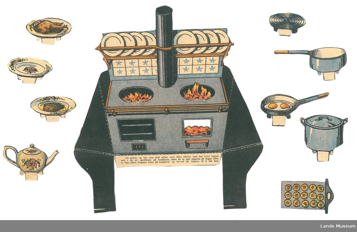 Ved komfyr med pipe, tallerkenhylle.