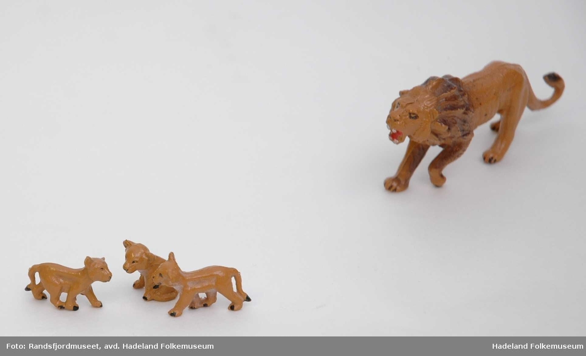 6 Løver; to hannløver, en hunnløve og tre barn - hvorav to står og en sitter.