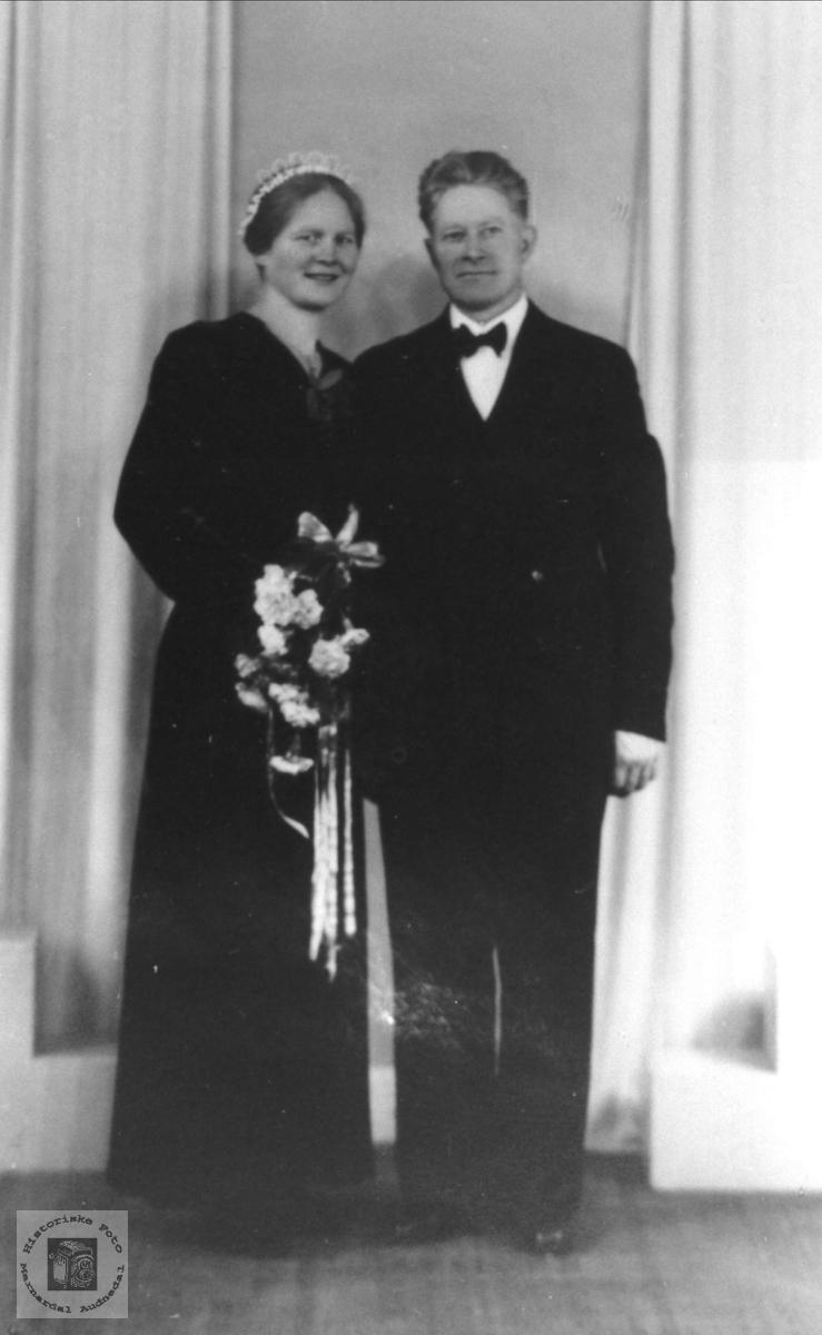 Brudebilde av Maria og Gunstein Tjomsland, Laudal.