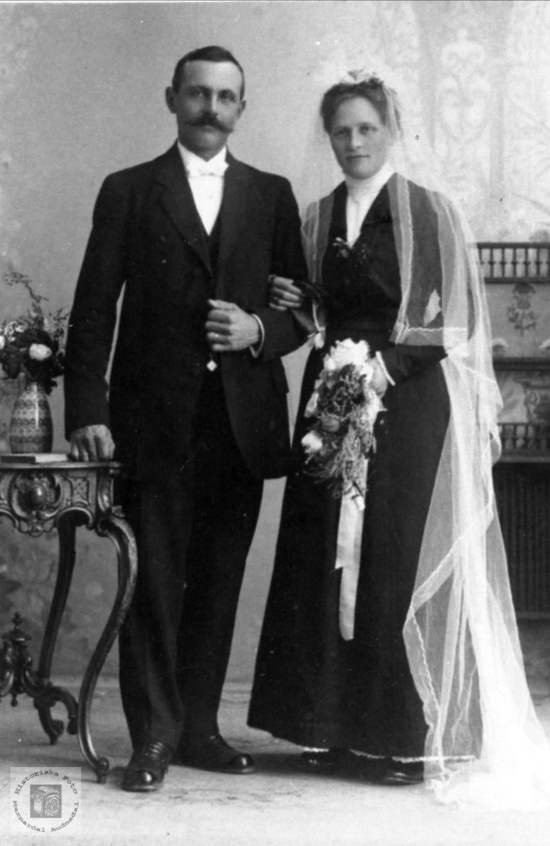 Brudeparet Anders og Tora Kristine Aasen, Øyslebø.