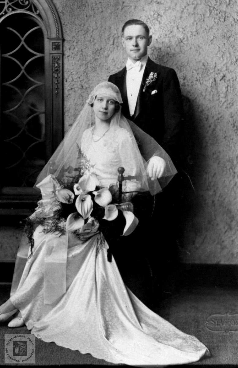 Brudebilde av Oskar og Maiken Birkeland, Laudal.