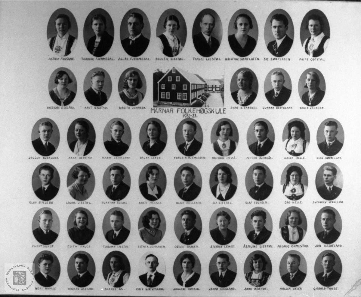 Marnar Folkehøgskole 1932-1933