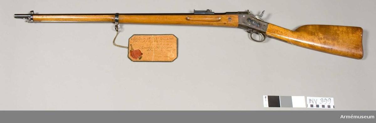 Gevär m/1867-1889. Modellexemplar, arbetsmodell. Lådan från gevär tillverkat 1876. . Tillv.nr 847. AM 8219.