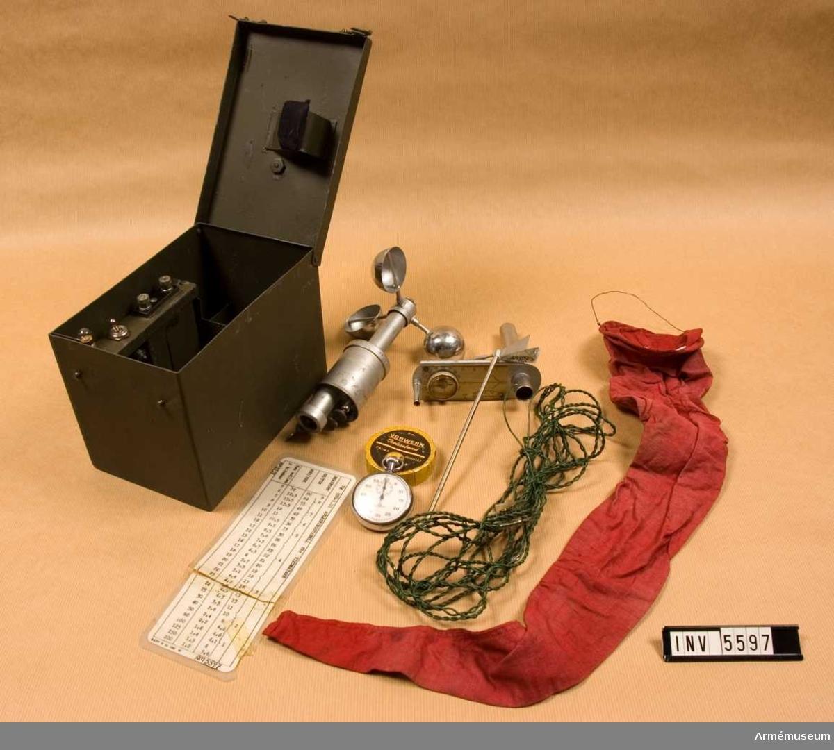 Består av: 1 låda av järnplåt, 195x127x140 mm, 1 avläsningstabell, 1 hållare, 2 isolerband, 1 kabel, 1 signalplint, 2 glödlampor, 1 skålkorsanemometer, 1 stoppur 1/5 s m boett nr 232 (1942) S Bergenheim, Stockholm, (import), 1 vindfana av väv.Vikt m tillb./förvaringslåda: 2300 gr.
