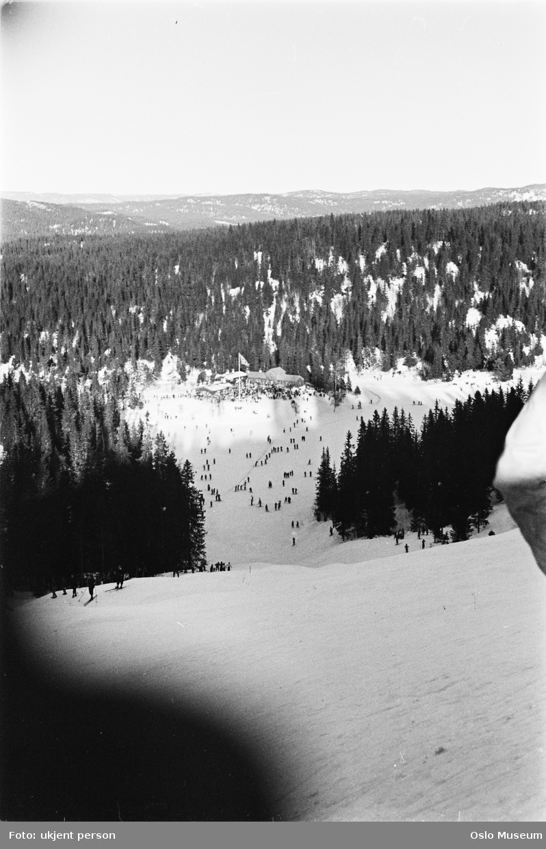 utsikt, slalåmbakke, Tryvannstua, mennesker, skog, snø