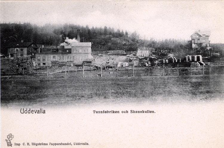"""Tryckt på kortet: """"Uddevalla, Kråkhagen. Uddevalla. Tunnfabriken och Skanskullen."""""""