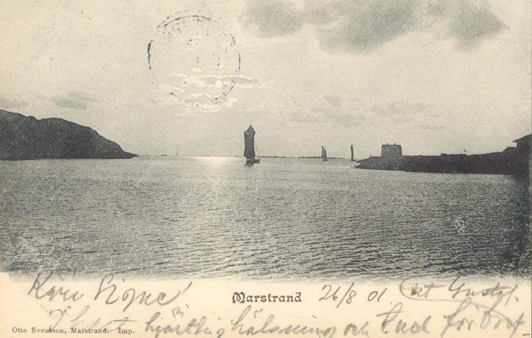 "Tryckt text på kortet: ""Marstrand."" ""Otto Svensson, Marstrand."" ::"