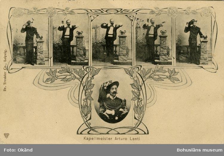 """Tryckt text på vykortets framsida: """"Kapellmeister Arturo Lenti""""."""
