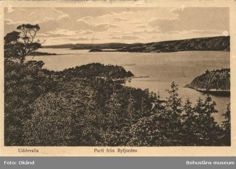 """Tryckt text på vykortets framsida: """"Uddevalla Parti från Byfjorden."""""""