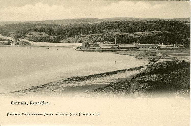 """Tryckt text på vykortets framsida: """"Uddevalla Kasenabben."""""""