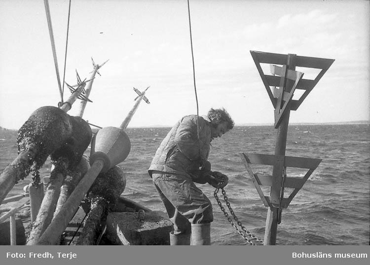 """Enligt fotografens notering: """"Vårprickning av farleder 1969""""."""
