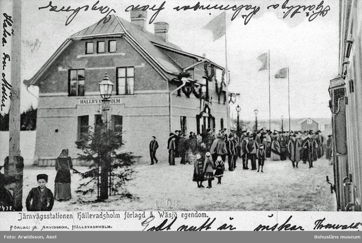 Järnvägsstationen Hällevadsholm förlagd å Wässjö Egendom.