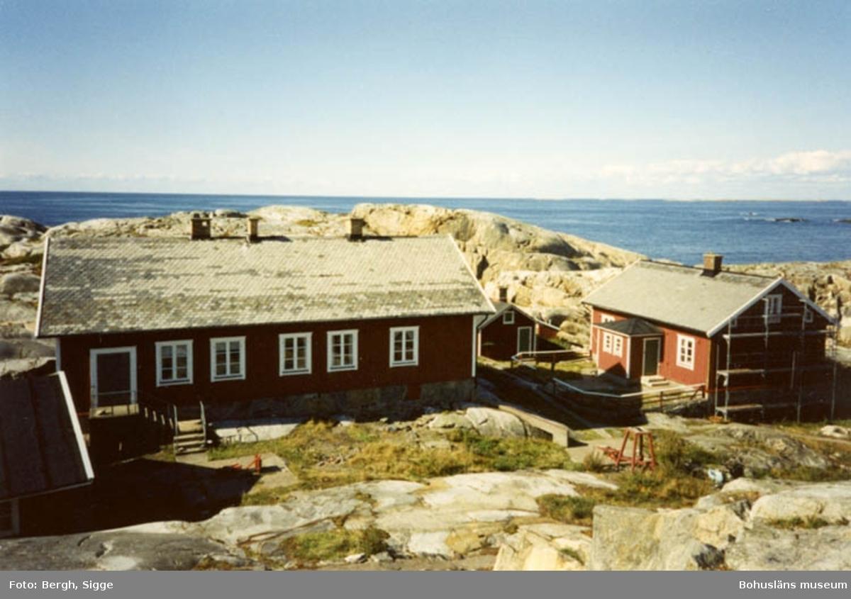 """Enligt text på fotot: """"Husen på Väderöbods fyrplats sedda från där den gamla fyren låg 1994""""."""