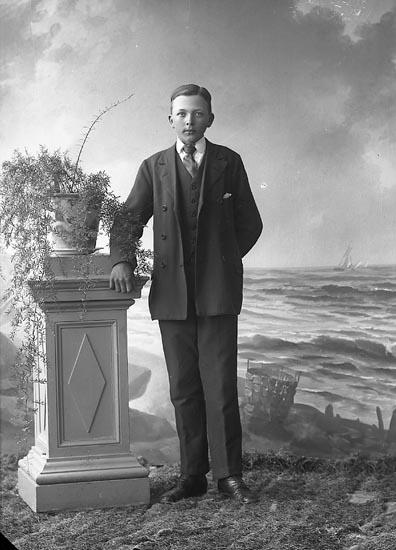 """Enligt fotografens journal nr 4 1919-1922: """"Johansson, Gunnar Åketorp, Spekeröd""""."""