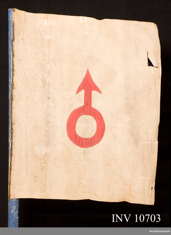 Grupp B.  Tredje kompaniets kompaniflagga använd vid storlägren på Karl  XV:s tid.