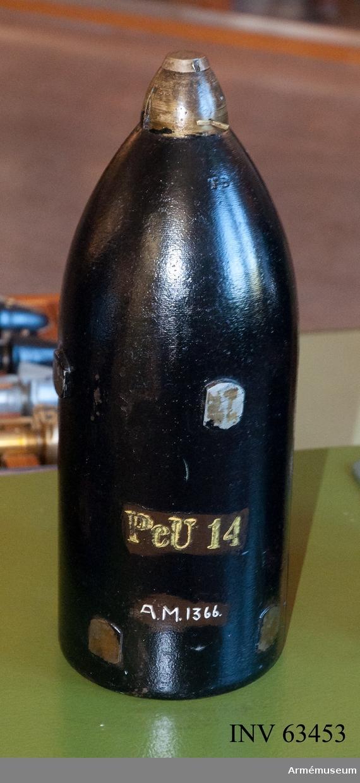Grupp F II. 12 cm granat m/1871. Till 12 cm framladdningskanon m/1870. Enligt Generalfälttygmästare expeditionens skrivelse nr 835, den 24/10 1885.