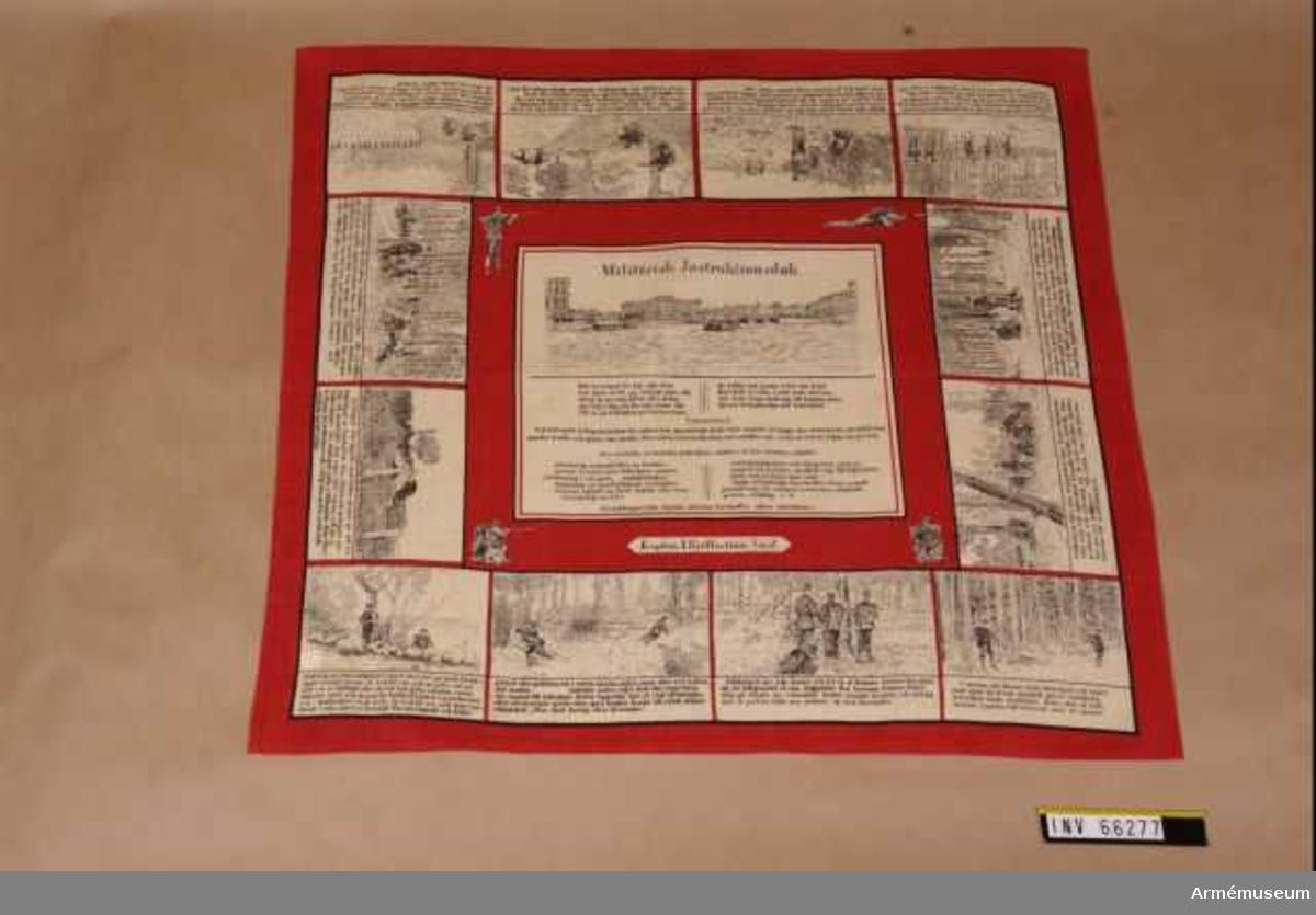 """Grupp M V. Militärisk instruktionsduk, (onumrerad), troligen tryckt 1904, 2 Göta trängbataljon. Duken är märkt """"Kapten J. Kjellerström Åmål"""". Duken finns i två upplagor med identiskt lika bilder, däremot är texten något olika, men hämtade ur samma grundmaterial: Instruktion för bevakningstjänsten 1881."""