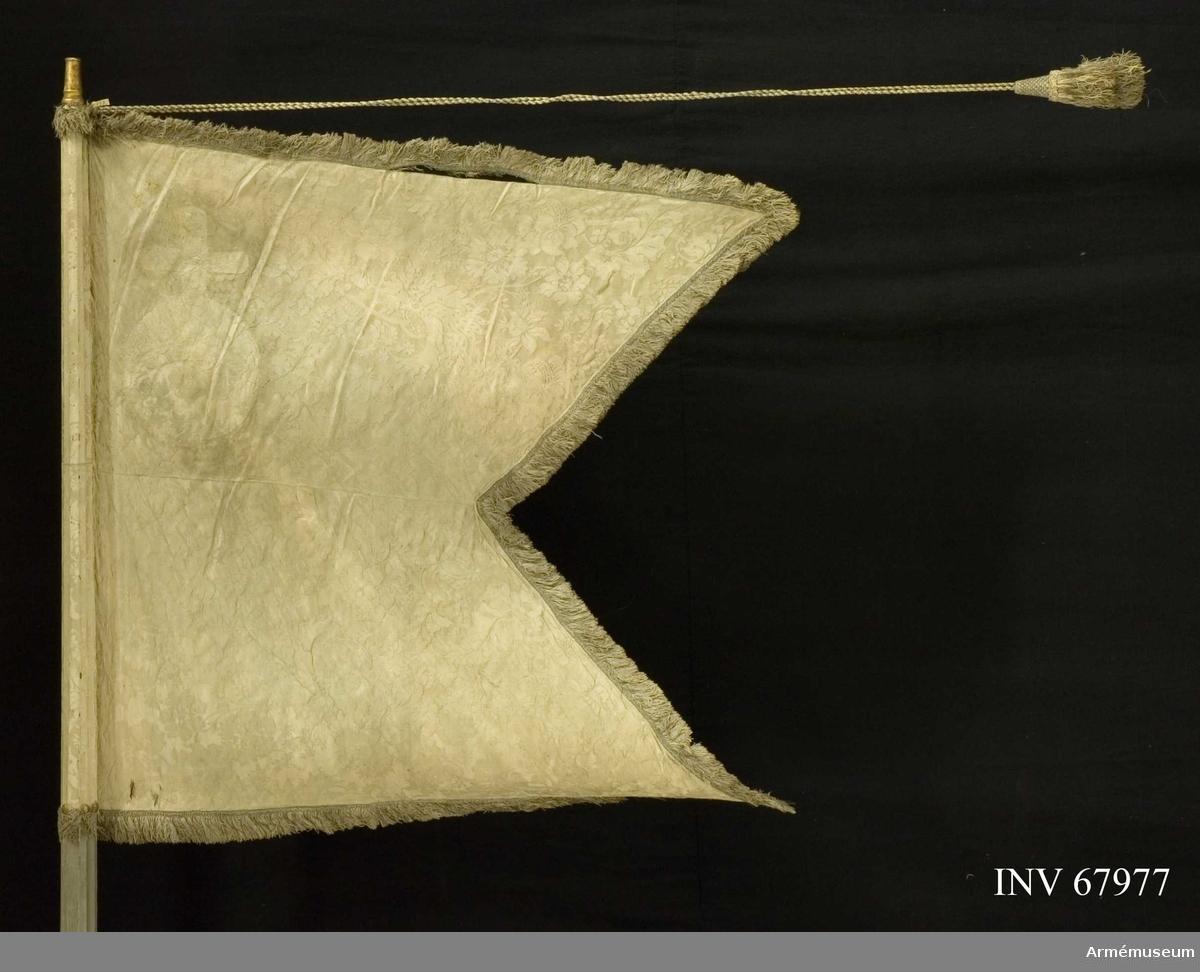 Duk: Tillverkad av enkel blå sidendamast. Tvåtungad, sydd av tre horisontella våder. Damastens mönsterrapport 233 x 525 mm. Kantad med blå, dubbel frans i silke och metalltråd.   Dekor: I övre inre hörnet applicerat på båda sidor Upplands sköldemärke, ett broderat riksäpple i guld, h: 340 mm b: 210 mm. Fäst vid stången med en rad tennlikor på ett ljusblått band.   Stång av blågråmålad furu. Kanellerad. Löpande bärring. Holk av mässing. Saknar spets.   Banderoller: TIllverkade av blått silke och guld (silver?).