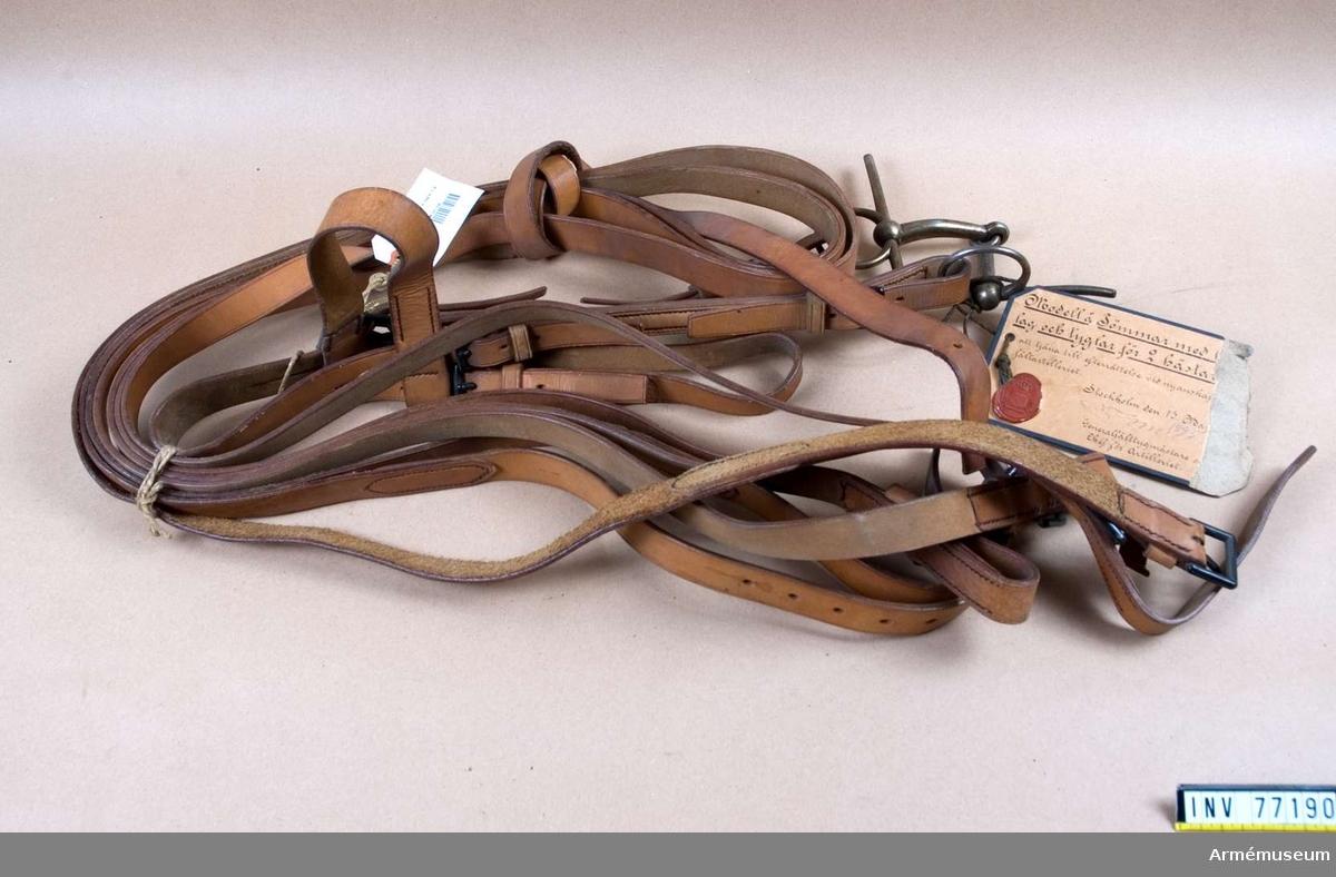 """Grupp K II.  På modelletiketten är angivet: """"Modell å Tömmar med huvudlag och tyglar för 2 hästar, fastställd att tjäna till efterrättelse vid nyanskaffning för fältartilleriet. Stockholm den 13 Maj 1895. (underskrift) Generalfälttygmästare och Chef för Artilleriet."""" Sigill: """"Generalfälttygmästarens Expedition"""". Satsen består av: 1/ ett huvudlag - det andra huvudlaget saknas,- med bett. 2/ en töm - den andra tömmen saknas. 3/ två tömtyglar. 1/ huvudlaget består av: a/ nackstycke - 43mm brett - med dubbla stroppar. b/ två sidostycken - 22mm breda - dubbelsydda, varenda med två fyrkantiga, svartlackerade söljor, hopspända med nackstyckets stroppar samt bettets tygelringar. c/ käkrem - 21mm bred - med två fyrkantiga, svartlackerade söljor, hopspänd med nackstyckets stroppar. d/ pannrem - 30mm bred - rörlig. Bettet är tvådelat, med 15cm bredd mellan ringarna, med 65mm stora tygelringar och 16,3cm långa parerstänger. 2/ tömmen är 4,5m lång, 25mm bred, med en svartlackerad sölja. 3/tömtyglarna äro 2,6m långa och 25mm breda, varenda med två svartlackerade söljor."""