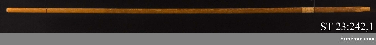 Tvåtungad lansfana av röd kinesisk sidendamast. Motivet målat med oljefärg, guld och silver. Korsfästelsescen med Jesus på korset och under honom stående Jungfru Maria, Maria Magdalena, Johannes och den helige Longinus. På tungorna rankornament och en stor ros. Lika på båda sidor. Sekundär stång.