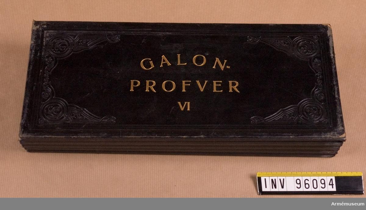 Galonprofver VI. Provbok med olika typer av galoner.