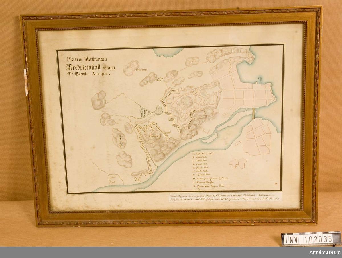 """Grupp L. """"Plan af faestningen Fredrickshall samt de svenskes attaque"""" Kopia efter original i Kungliga Biblioteket i Köpenhamn. Avritningen utförd 1925 av J. A. Lander."""