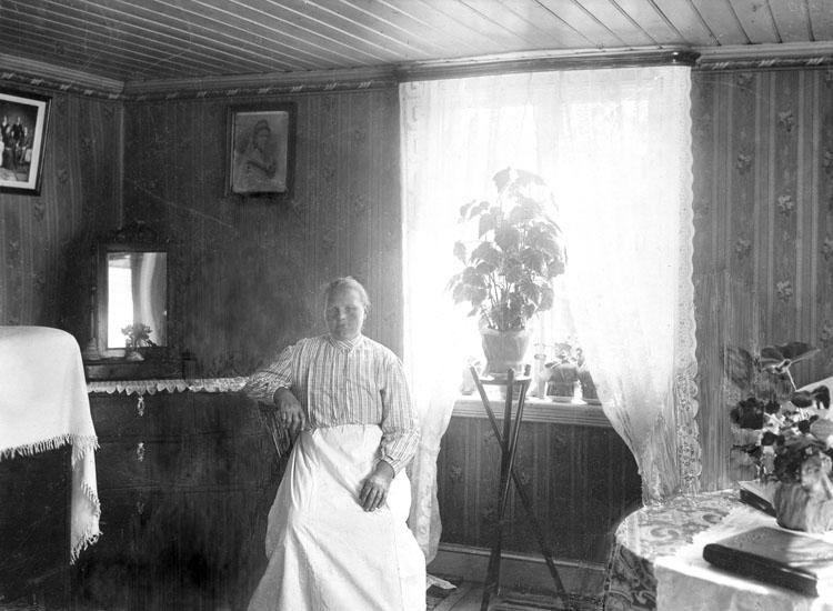 """Uppgift enligt fotografen: """"Uddevalla. Interiör m. Kvinna. Garvaremyren 6."""""""