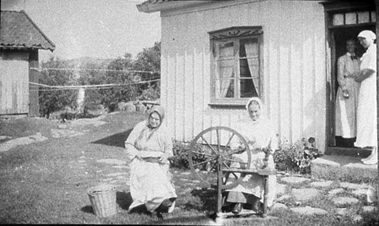 """Bildtext till kopian i fotoalbumet: """"Hemslöjd 1917. Fr.vä: Emelia Johansdotter f. 1833, Sofia Åller - Henriksson f. 1852, Sigrid Henriksson f.1880, Jenny Henriksson - Lindqvist f. 1894. Kvinnan till vänster kardar ull. Kvinnan till höger spinner.""""."""