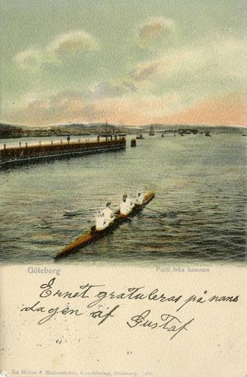 Notering på kortet: Göteborg. Parti från hamnen.