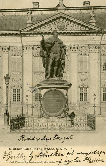 Notering på kortet: Stockholm. Gustaf Wasas staty.