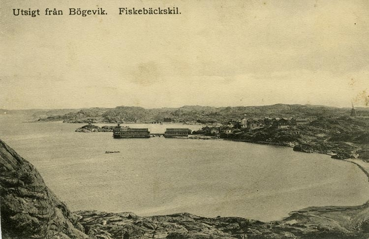 Notering på kortet: Utsikt från Bögevik. Fiskebäckskil.