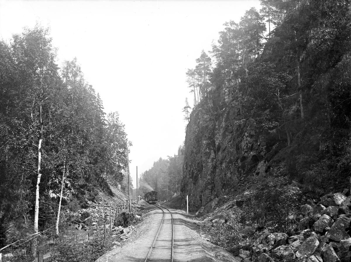 Ingerydsdalen, mellan Brötjemark och Bunn stationer vid Jönköping-Gripenbergs Järnväg (JGJ). Ett av JGJ-loken nr 1-3 syns på bilden.