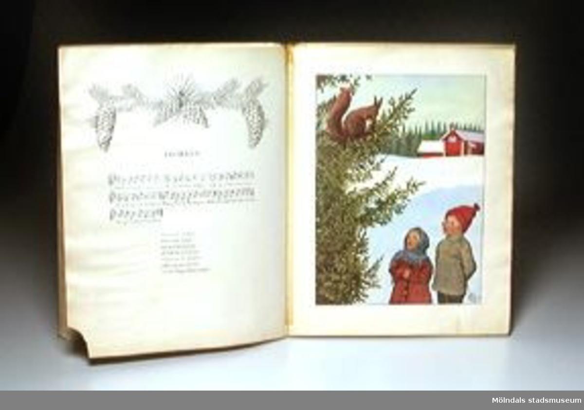 """Titel: """"Mors lilla Olle och andra visor av A.T."""" med bilder av Elsa Beskow.Märkning på försättsbladet. Boken plastinslagen och sidor lagade med tejp.AB Skoglunds bokförlag."""