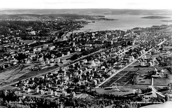 Västra Sundsvall, flygfoto.