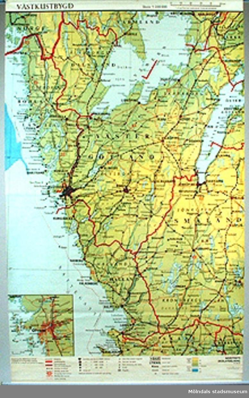 Skolkarta märkt nr 34.Västkustbygd.34b Detalj.34c Detalj.