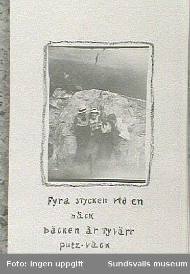 Maja Braathen med Atti, Lisa och Gunnar. Från resa till Trondheimsommaren 1915.