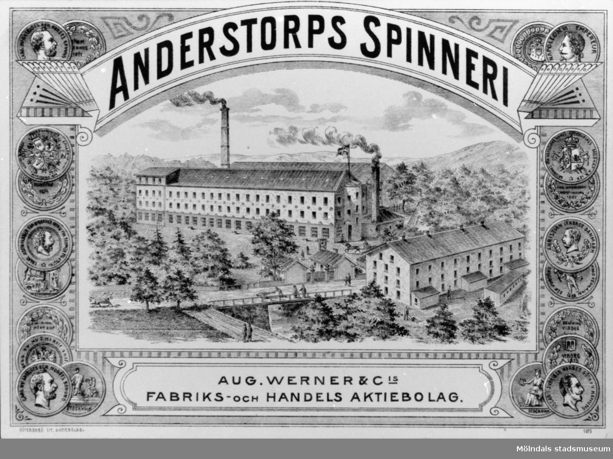 Anderstorps spinneri grundades 1829 - 1989, övergick till färgeri till 1897. Reklambild över området.